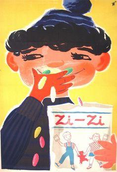 Zi-Zi Káldor László 1950 Zi-Zi is a famous Hungarian treat Retro Advertising, Retro Ads, Vintage Advertisements, Vintage Ads, Vintage Posters, Retro Posters, Vintage Graphic Design, Poster Ads, Retro Illustration
