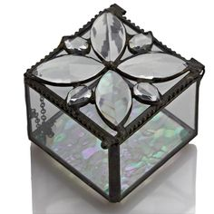 Stained Glass Box,Hinged Clear Lid with Jeweled Top