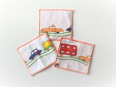 children coasters - car print trivets - set of 3x - triplets boy's gift - orange red blue green yellow - colourful #redstitch #uniquegifts