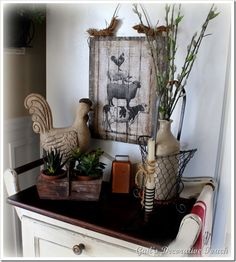 Not really into the farm look, but love the planter box and other items she uses!