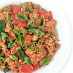 Ground Turkey and Zucchini with Indian Spices Recipe Main Dishes with onions, ground turkey breast, salt, minced garlic, red bell pepper, zucchini, minced ginger, lemon grass, cumin, smoked paprika, garam masala, cinnamon, cayenne, ground allspice, tomato sauce low sodium, scallions
