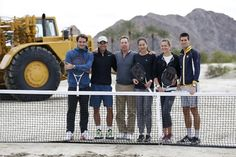 (from left to right) Roger Federer of Switzerland, Rafael Nadal of Spain, Oracle Chief Executive and tournament owner, Larry Ellison, Ana Ivanovic of Serbia, Victoria Azarenka of Belarus, and Novak Djokovic of Serbia, pose together during a ground-breaking ceremony for the expansion of the Indian Wells Tennis Garden at the BNP Paribas Open ATP and WTA tennis tournament in Indian Wells, California, March 8, 2013. REUTERS/Danny Moloshok (UNITED STATES - Tags: SPORT TENNIS BUSINESS)