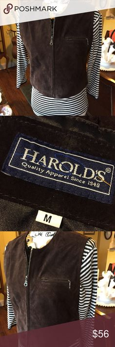 Harold's Elegant Brown Suede Leather Vest Label: Harold's • Made in India • circa 1990s Size: Medium measure 18 pit to pit and a little over 18 inches shoulder to hem. Content: Leather, Lining 100 percent viscose very satiny feel. Color is dark cocoa. Beautiful little suede vest never goes out of style. Harolds Jackets & Coats Vests