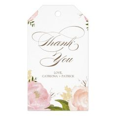 Watercolor Wedding Thank You Romantic Watercolor Flowers Thank You Gift Tag