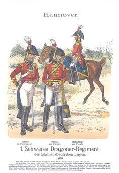 Band XIV #34.- Hannover: Englisch-Deutsche Legion. 1. schweres Dragoner-Regiment. Offizier im Dienstanzug. - Offizier zur Parade. Stabsoffizier zur Parade. 1806.