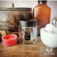 "These Kitchen Jars hold up to 3oz & can be used to store all your herbs & spices. Each jar measures 2"" in diameter & is made of glass with a locking screw-on plastic lid. // #kitchenwitch #storage #magick #spices #herbs #apothecary #seasoning #witch #wicca #pagan Magick, Wicca, Pagan, Kitchen Jars, Kitchen Ideas, Kitchen Witchery, Thing 1, Spices, Herbs"