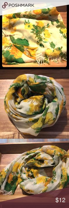 Cotton Rose Scarf Yellow and green cotton scarf. Very nice condition. Charming Charlie Accessories Scarves & Wraps