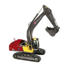 NZG 1:50 Volvo EC460 Diecast Model Excavator NZG811-02 This Volvo EC460 CL Backhoe Diecast Model Excavator is Red and Yellow and features working bucket, lift arm, rotating chassis, tracks. It is made by NZG and is 1:50 scale (approx. 23cm / 9.1in long). #NZG #ConstructionModel #Volvo