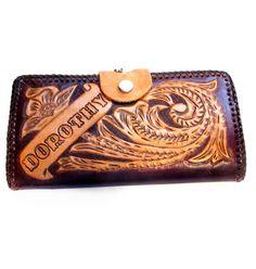 "Vintage ""DOROTHY"" Tooled Leather Wallet Clutch"