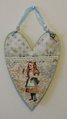 Alice in Wonderland Heart Plaque - Decoupaged Mixed Media Wall Art. $12.00, via Etsy.