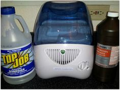 Use vinegar and hydrogen peroxide (or bleach) to clean and disinfect your humidifier