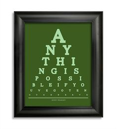 . Eye Chart, Ginny Weasley, Anything Is Possible, Things To Think About, Harry Potter, Teaching, Unique Jewelry, Handmade Gifts, Etsy