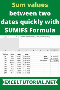 Sum values between two dates quickly with SUMIFS Formula Computer Basics, Computer Help, Computer Tips, Computer Programming, Excel Cheat Sheet, Microsoft Excel Formulas, Excel Hacks, Software Testing, Keyboard Shortcuts
