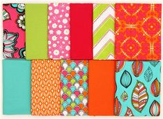 Fat Quarter fabric bundle flowers bright by Robert Kaufman #quilting #crafts