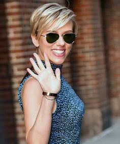 Image result for scarlett johansson short hair wearing sunglasses