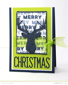 Merry Christmas card by Julie Campbell at @Studio_Calico #deer #Christmas