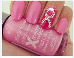 pink Breast cancer awareness nails with ribbon in rhinestones. Love the idea and the bling.