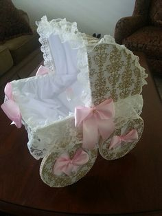 The Grace Gold And white Baby Carriage by TheCarriageShoppe