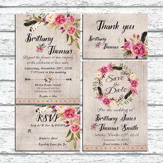 Invitaciones de boda. Rústico Floral por HappyLifePrintables