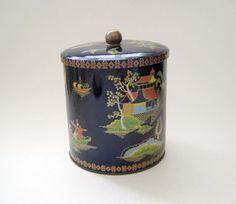 Vintage Tea Tin Daher Oriental Dark Blue by SharetheLoveVintage