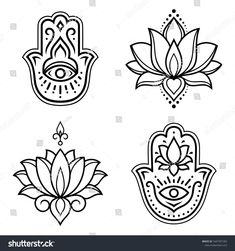 """Set of Hamsa hand drawn symbol with lotus flower. Decorative pattern in oriental style for interior decoration and henna drawings. The ancient sign of """"Hand of Fatima"""". Hamsa Drawing, Hamsa Art, Henna Drawings, Hamsa Tattoo Design, Hamsa Design, Fatima Hand Tattoo, Hand Of Fatima, Tatouage Main Hamsa, Lotus Flower Art"""