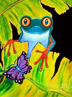 Endangered Red Eyed Tree Frog and Purple Butterfly