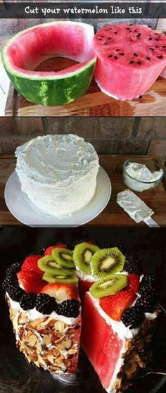 How to make a watermelon into a cake! use light cool whip and spread on cold watermelon add your toppings!!!