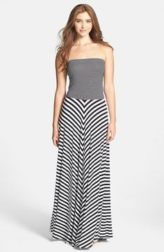FELICITY & COCO Contrast Stripe Strapless Maxi Dress (Nordstrom Exclusive)