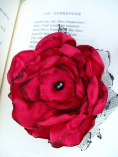 Red Flower Hair Clip by OurPlaceToNest on Etsy, $9.00