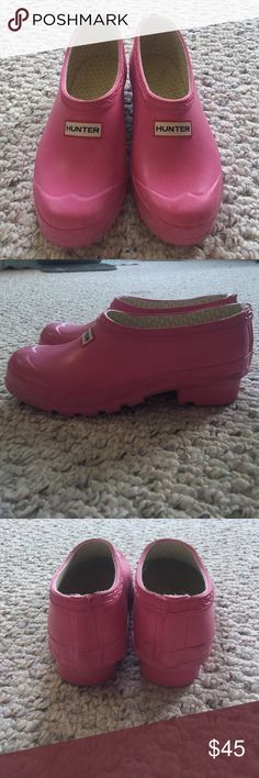 Hunter clogs Hot pink hunter clogs. Bought without a box. They have a little wear on them. Size 4 but fits like a 5-5.5 Hunter Boots Shoes Mules & Clogs