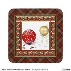 Celtic Holiday Ornaments Set of 6 Tartan Coasters