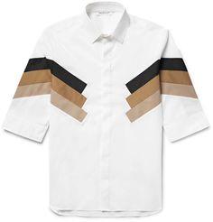 NEIL BARRETT Panelled Cotton-Blend Poplin Shirt. #neilbarrett #cloth #casual shirts
