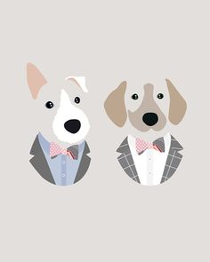 Custom Pet Portrait by Woof Models - West Highland White Terrier & Golden Retriever. Models are wearing Brooks Brothers Small Dot & Alternating Stripe Bow Tie, Paul Smith Blue Cotton Shirt & Gucci Grey Brera Slim-Fit Wool Suit. Brooksbrothers Small Dot & Alternating Stripe Bow Tie, Hugo Boss White Jacob Slim-Fit Cotton Shirt & Alfred Dunhill Grey Belgravia Slim-Fit Wool Suit.