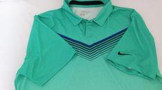 Men's Nike Golf tour Turquoise Dri-Fit Short Sleeve Polo Shirt-Large  #Nike #Golf