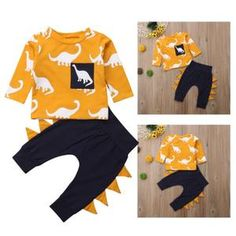 A dinosaur set blended with cotton and spandex materials. The dinosaur theme is perfect for dinosaur lover kids. Pineapple Co, Cute Baby Clothes, Spandex Material, Be Perfect, Cute Babies, Baby Outfits, Yellow, Purple, Fireworks