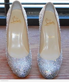 Christian Louboutin Simple strassed in clear Swarovski crystal.  PERFECT, comfortable, bridal shoe.