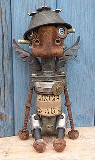 Art from recycled metal parts. Recycled Robot, Recycled Art, Recycled Materials, Arte Robot, Robot Art, Robots, Metal Yard Art, Scrap Metal Art, Found Object Art