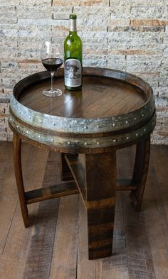 Red Mahagony Stained Wine Barrel End Table by alpinewinedesign