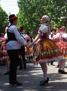 Voivodina Hungarians national costume and dance. Folklore, Hungarian Dance, Folk Clothing, Folk Dance, Folk Costume, My Heritage, People Of The World, Traditional Dresses, Dance Costumes