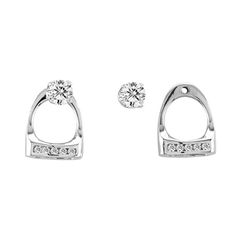 Stirrup Post Earrings with Clear CZ