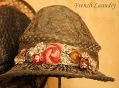 French Laundry: Hats off to you! Antique RIBBON WORK on Metallic Lace