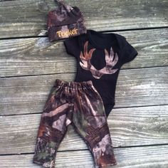Camo, antlers, infant pant set, take me home, going home, newborn on Etsy, $30.00