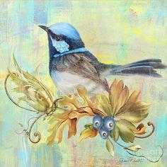 Glorious Birds On Aqua-b2 Painting  - Glorious Birds On Aqua-b2 Fine Art Print