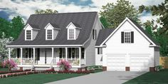 """House Plan 2341-B MONTGOMERY """"B"""". Traditional 1-1/2-story house plan with 5 bedrooms and 2-1/2 baths. Two-story Foyer. Master Suite downstairs, with four bedrooms upstairs."""