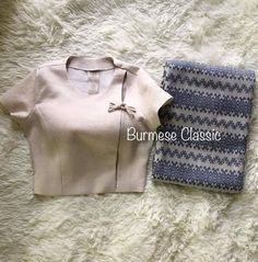 Dress Design Patterns, Clothing Patterns, Fancy Blouse Designs, Blouse Neck Designs, Traditional Dresses Designs, Stylish Tops For Women, Myanmar Dress Design, Myanmar Traditional Dress, Kurta Designs Women