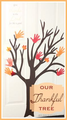 """Create a """"Thankful Tree"""" wiith your class, make a tree out of butcher paper, outline students' hands and have them write what they are thankful for. (tree I want to copy on butcher paper) Thanksgiving Crafts, Fall Crafts, Holiday Crafts, Holiday Fun, Crafts For Kids, Thanksgiving Activities, Holiday Decor, Make A Family Tree, Thankful Tree"""