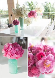 Mike + Liz's #Sarasota #RitzCarlton Wedding on the Beach with pops of Turquoise and Pink!!