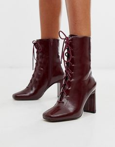 Shop ASOS DESIGN Expression lace up heeled boots in burgundy. With a variety of delivery, payment and return options available, shopping with ASOS is easy and secure. Shop with ASOS today. Stylish Boots, Casual Boots, Asos, Heeled Boots, Shoe Boots, Women's Boots, Shoe Shoe, Flat Boots, Safari