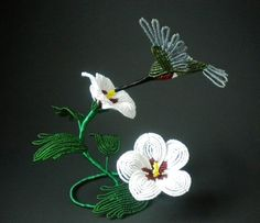 Hummingbird in Rose of Sharon   French Beaded by copperglass