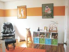 Smaller Cooler Pippi's Not-Too-Babyish Nursery Striped Room, Striped Walls, White Walls, Paint Stripes, Stripes Design, Girl Room, Girls Bedroom, Bedroom Ideas, Kid Bedrooms